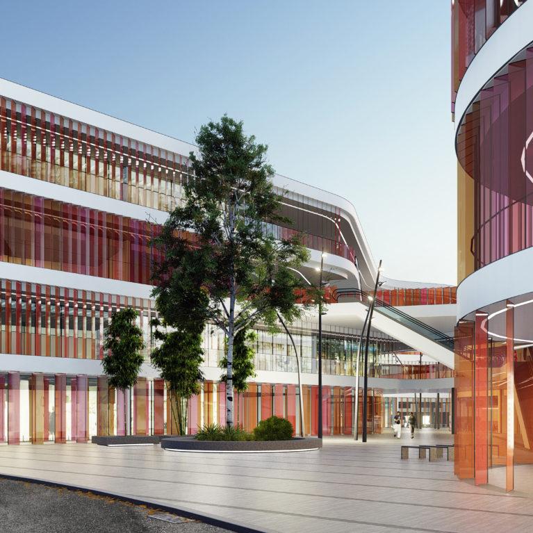 AQSO arquitectos office, mercado del ocho, lamas colores, entrada principal, patio de acceso, plaza pública, pavimento de piedra, vidrio translúcido