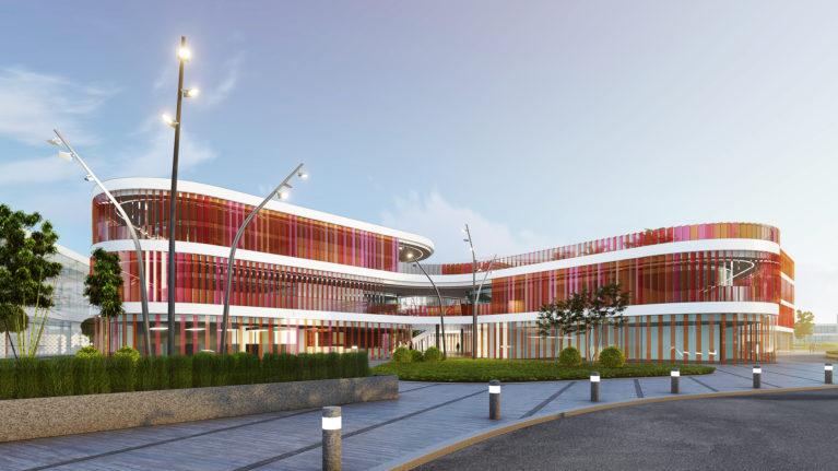 aqso arquitectos office, mercado del ocho, centro comercial, diseño de paisaje, fachada curva, edificio permeable, flujo y circulación, fachada colorida, orientación, control solar