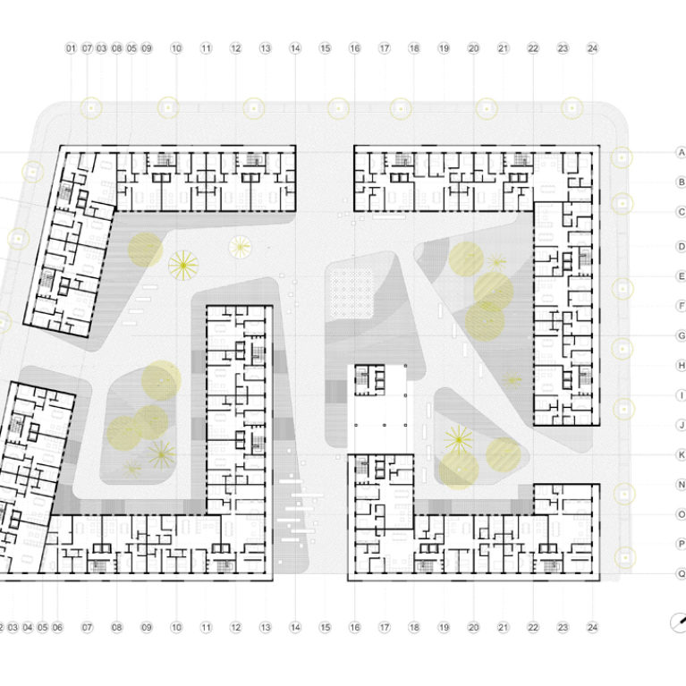 AQSO arquitectos office. Development floor plan showing the distribution of residential units along the housing block.