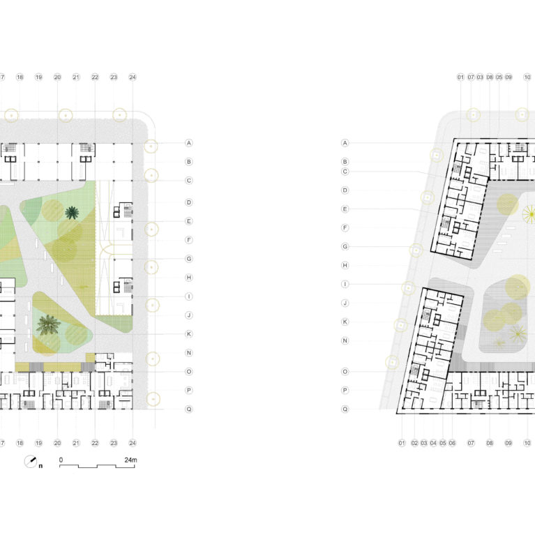 AQSO arquitectos office, anfa residential ground floor plan with landscape, pavements and water pond on the left and typical floor plan with apartments layout on the right