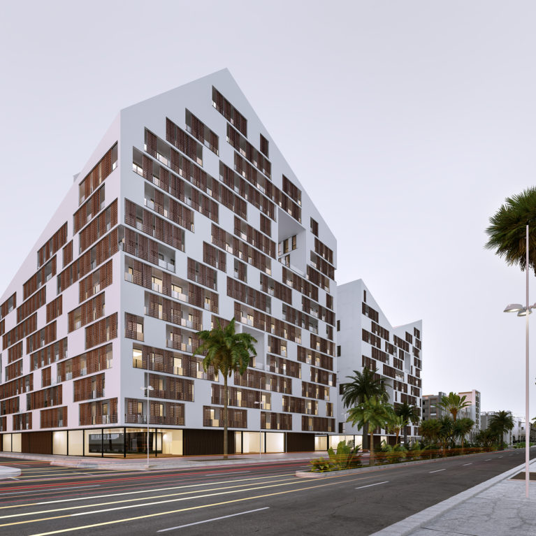 AQSO arquitectos office, anfa residential night view from the main boulevard, the iconic zig-zag skyline is seen with the morning light. The memorable architectural design stands out from the rest of the district