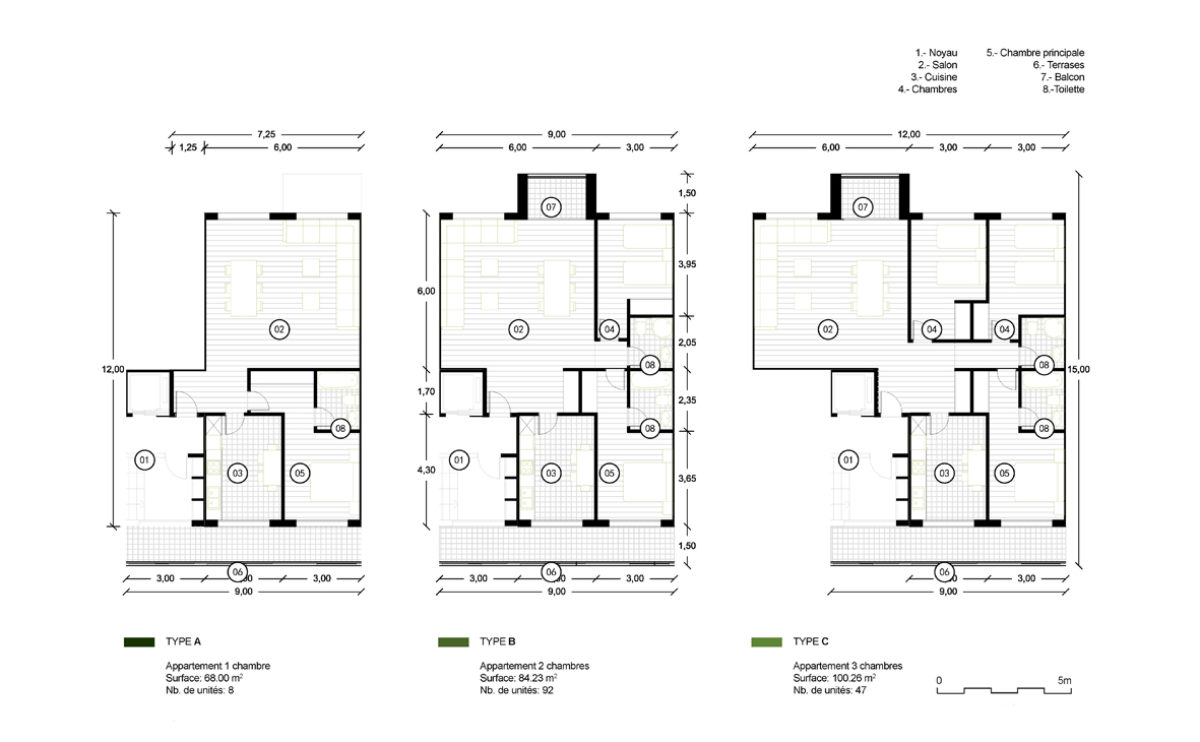 the floor plan layout of the small flats