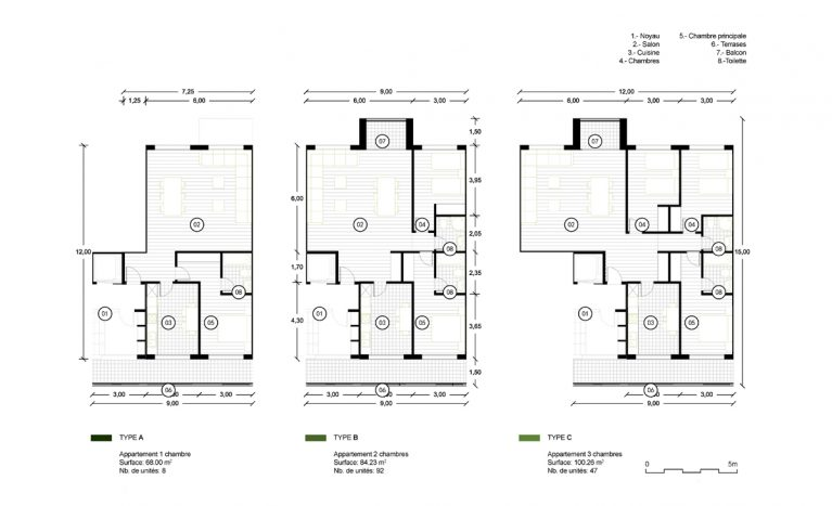 AQSO arquitectos office. Floor plans of the flats. Functional spaces, rectangular rooms and flexible modulation.
