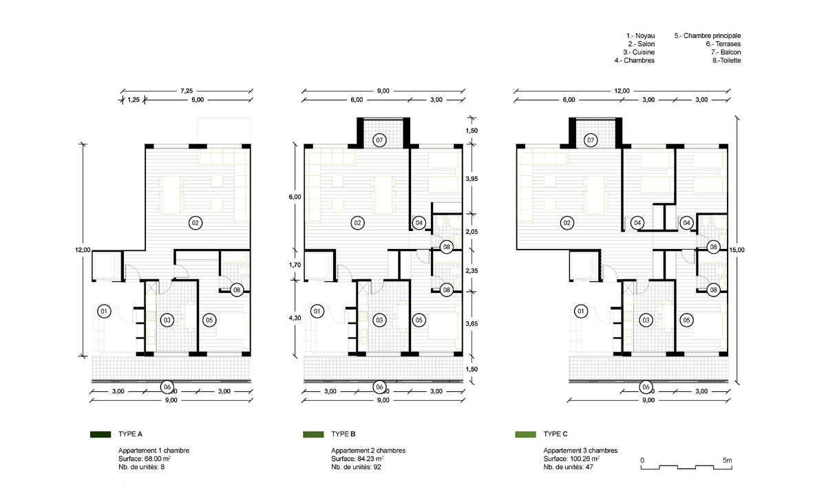 AQSO anfa residential units, four and five rooms apartments, layout floor plan