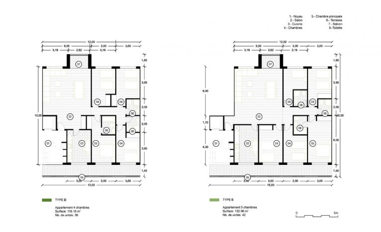 AQSO arquitectos office. The large homes with four and five bedrooms have an efficient floor plan.