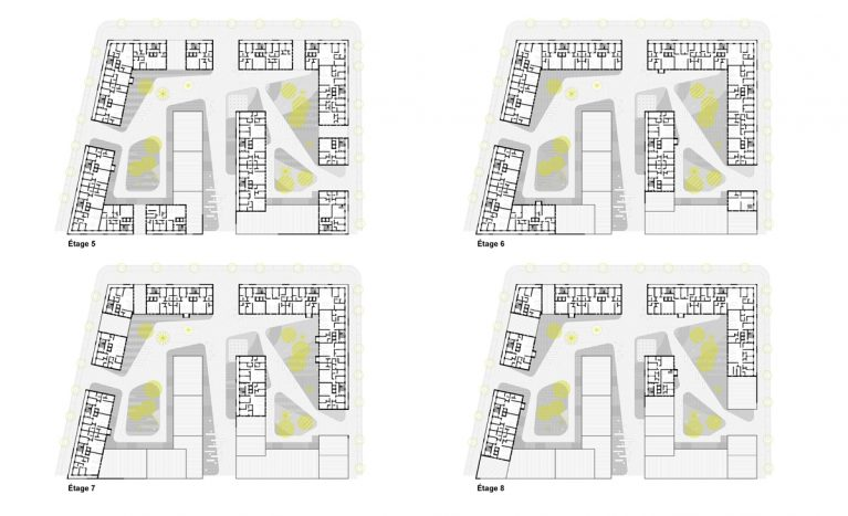 AQSO arquitectos office. Superior floor plan layouts, landscape design surrounded by flat blocks. Technical drawing.