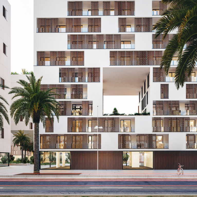 AQSO arquitectos office, anfa residential, the front elevation of the building with Moroccan-inspired lattice sliding panels creates an ever-changing skin.