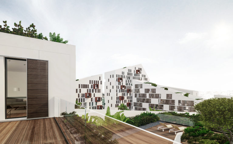 aqso arquitectos office. The simple and elegant design of the facade combines long balconies protected with timber screens with massive openings for outdoor areas, light and ventilation.
