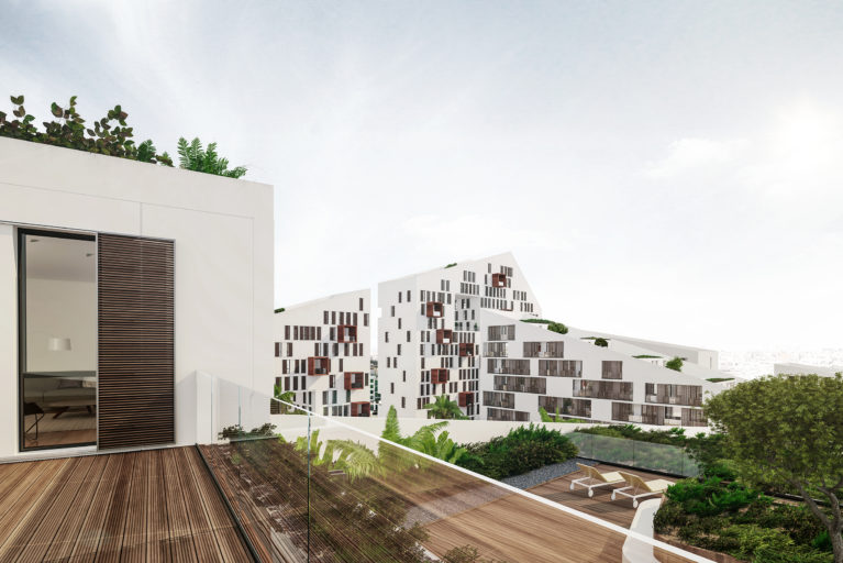 AQSO arquitectos office, anfa residential. Amazing view from the top, with the stepped terraces with greenery and the outstanding silhouette of the building. This is the most iconic building in Casabanca.