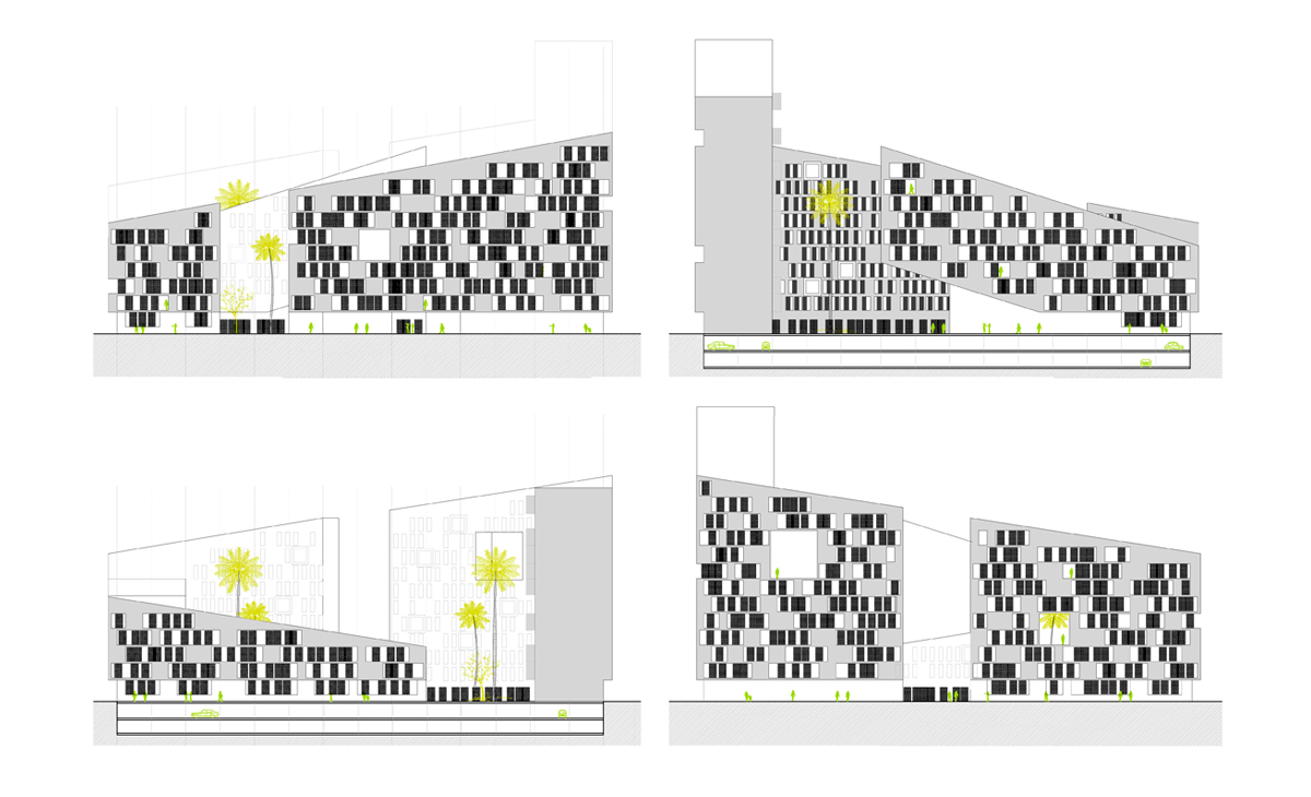 AQSO anfa residencial elevations, sloping facades and basements