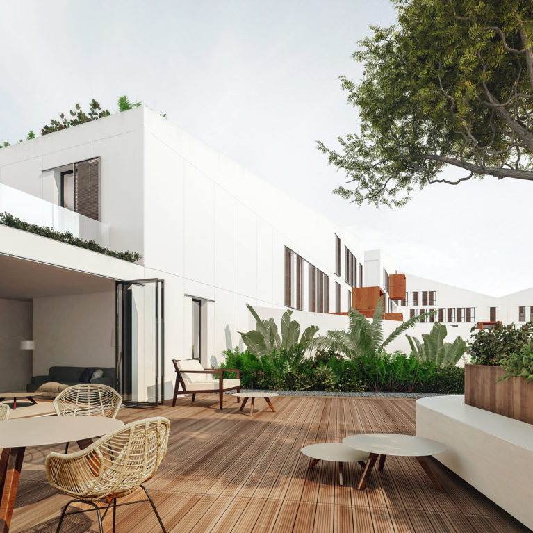 aqso arquitectos office. The top terraces offer outdoor spaces with seating areas, dinning tables and sun beds. The living room counts with big sliding glazing panels that open to the terrace with timber deck.