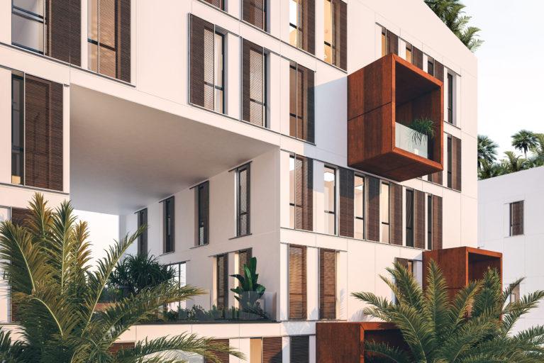 aqso arquitectos office. El diseño del paisaje combina plantas tropicales con especies que requieren bajo mantenimiento para proteger el edificio y crear un ambiente fresco y ventilado en los patios y terrazas públicas.