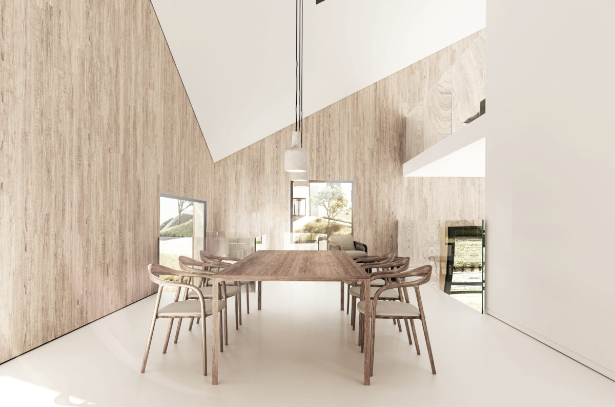 aqso arquitectos office, double heigh space, dinning room, triangular roof, timber lining, concrete pendants, visually connected floors, white flooring, shadow gaps