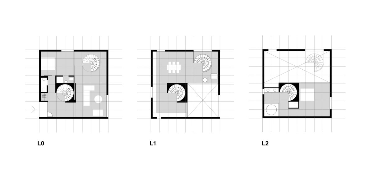 aqso arquitectos office, typical floor plan, resort space planning, villa internal distribution, spiral staircase, double heigh space, cube house, square module