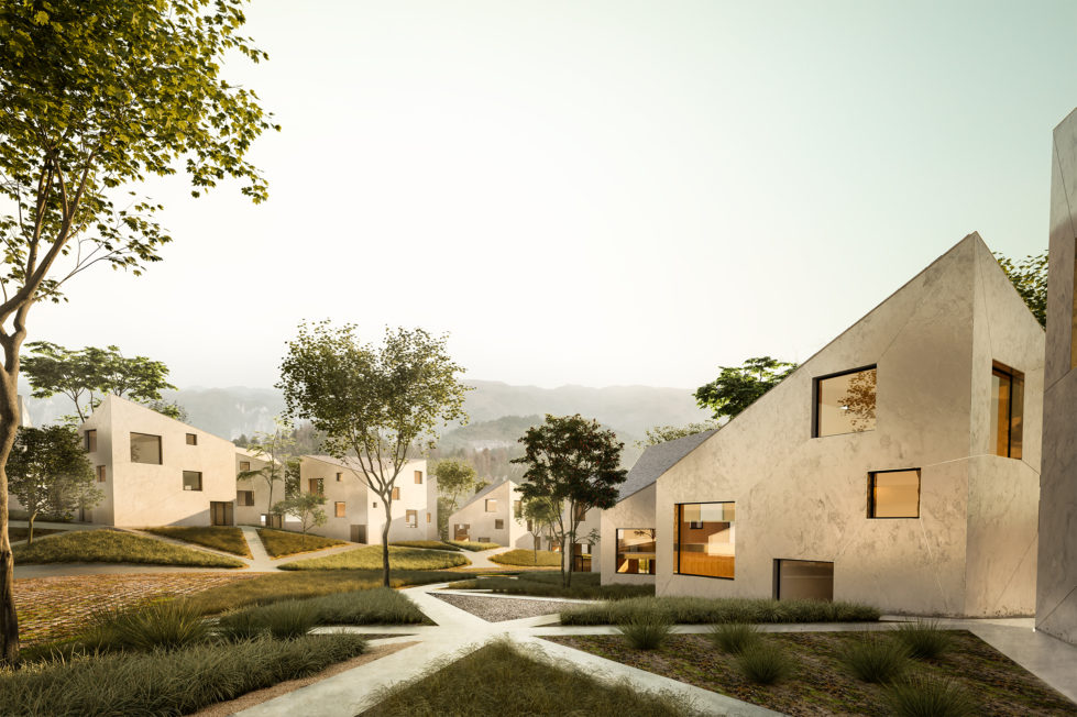 aqso arquitectos office, native vegetation garden, landscape design, triangular net, interconnected pathways, cost-effective solution, concrete facade, embed metal profile, houses in the forest