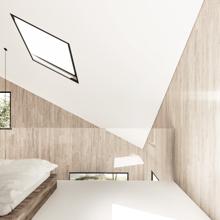 aqso arquitectos office, bedroom, triangular roof, skylight, luminous space, white flooring, sleep in the forest, hotel in the mountain, luxury outdoors