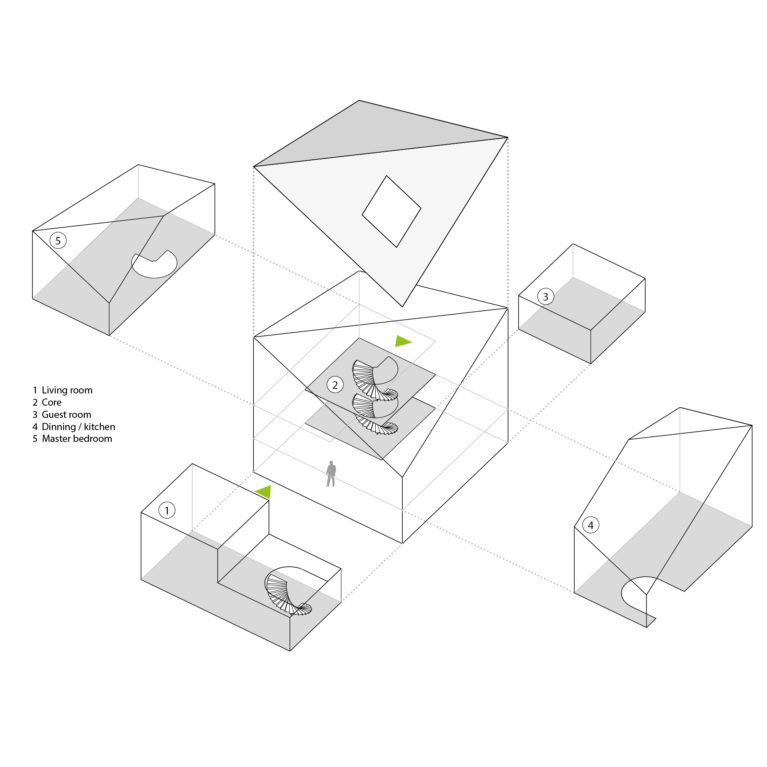 aqso arquitectos office, house diagram, axonometric view, exploded 3d view, uses, spiral staircase, home spaces breakdown, room size, cool graphics