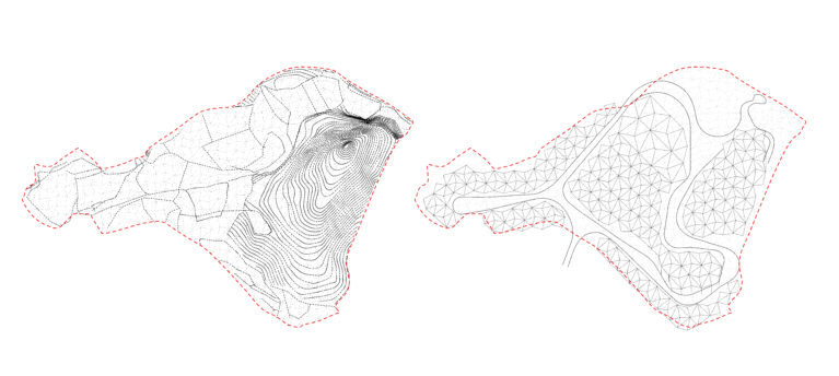 aqso arquitectos office, terrain analysis, contour lines, concept diagram, rational surface, simplified mesh, 3d modelling, road calculation, terrain transformation, architectural masterplan