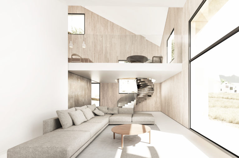 aqso arquitectos office, living room, luxury villa, resort, communal sofa, internal balcony, glass balustrade, huge glazing, big format, light, brass sliding door