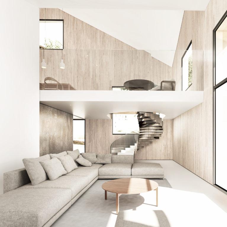 aqso arquitectos office, living room, luxury villa, resort, communal sofa, internal balcony, glass balustrade, huge glazing, big format, light, brass sliding door