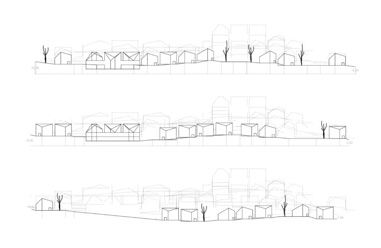 aqso arquitectos office, terrain sections, topographic analysis, building settlements, views study, roads, landscape, longitudinal section