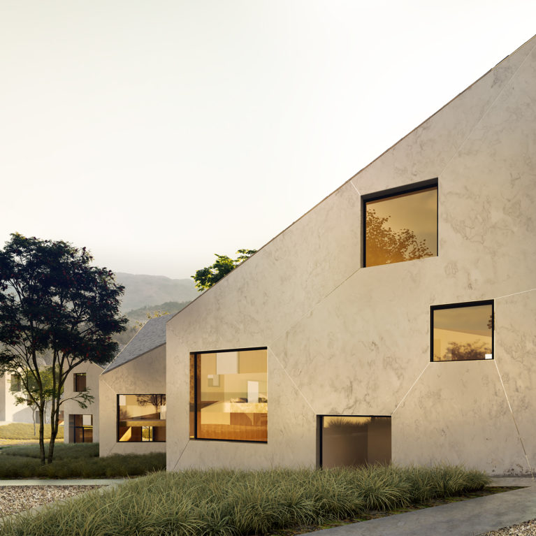 aqso arquitectos office, landscape, gravel, mysterious scene, warm houses, cozy village, big windows, hotel in nature, luxurious villa design