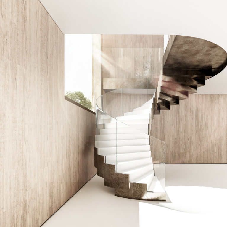 aqso arquitectos office, spiral staircase, curved glass balustrade, brass steps, white resin flooring, timber lining, sculptural stair, open to the landscape