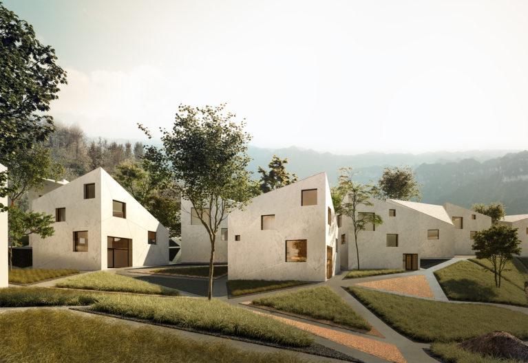 aqso arquitectos office, contemporary landscape, triangular pattern, concrete pathways, mountain architecture, resort, concrete house, random facade