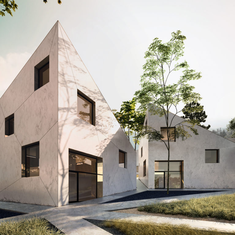 aqso arquitectos office, resort villas, concrete facade, garden, triangle, mountains, diagonals, windows, polished concrete