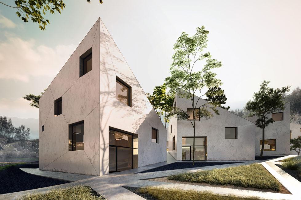 aqso arquitectos office, resort villas, concrete facade, garden, triangle, mountains, diagonals, windows, polished concrete