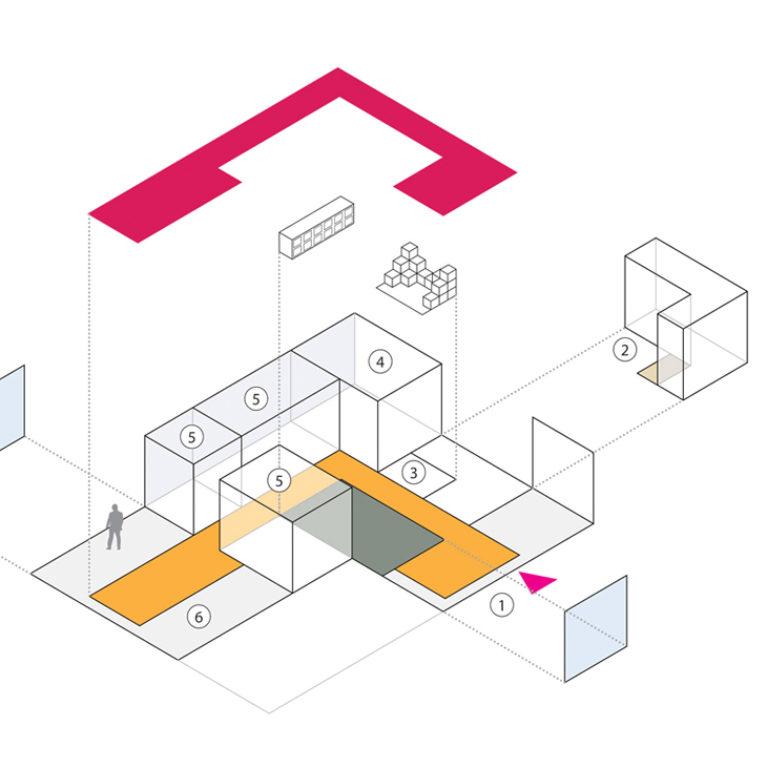 AQSO arquitectos office. El diagrama conceptual muestra los elementos del diseño interior y la planificación espacial. El centro tiene una entrada, un baño, una zona de talleres, una sala multifuncional y una biblioteca.