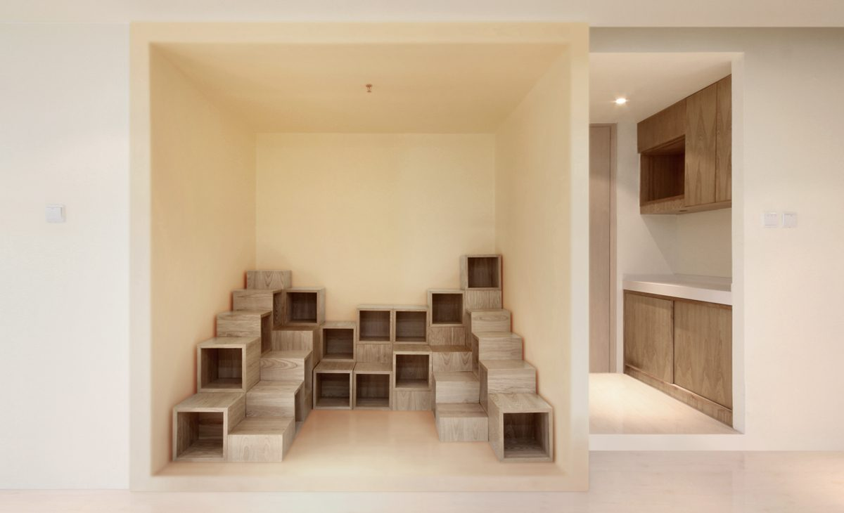 AQSO Ivy foundation, library for children, bookcases, wooden cubical modules, funny shelves, reading area