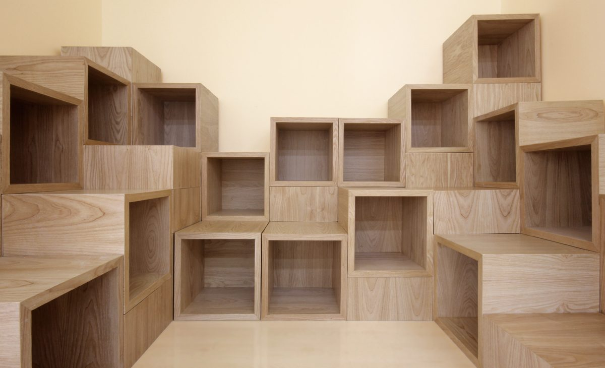 AQSO Ivy foundation, wooden boxes detail, jigsaw puzzle, climbable furniture