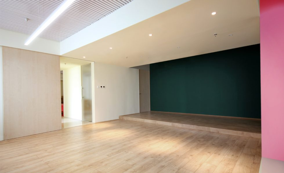 AQSO Ivy foundation, multifunction room, chalkboard blackboard paint, sliding door