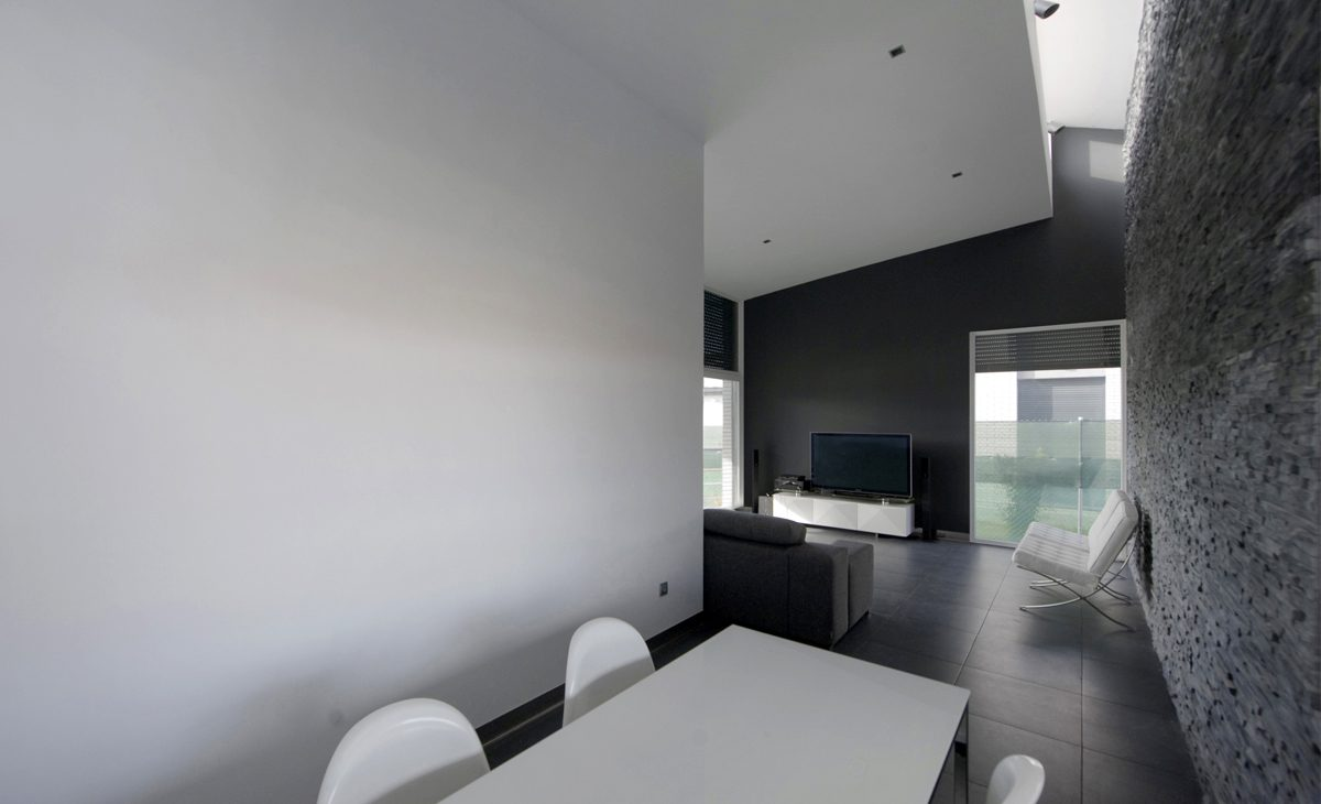aqso, residential, interior, withe, black, living room, plasma tv, shed roof