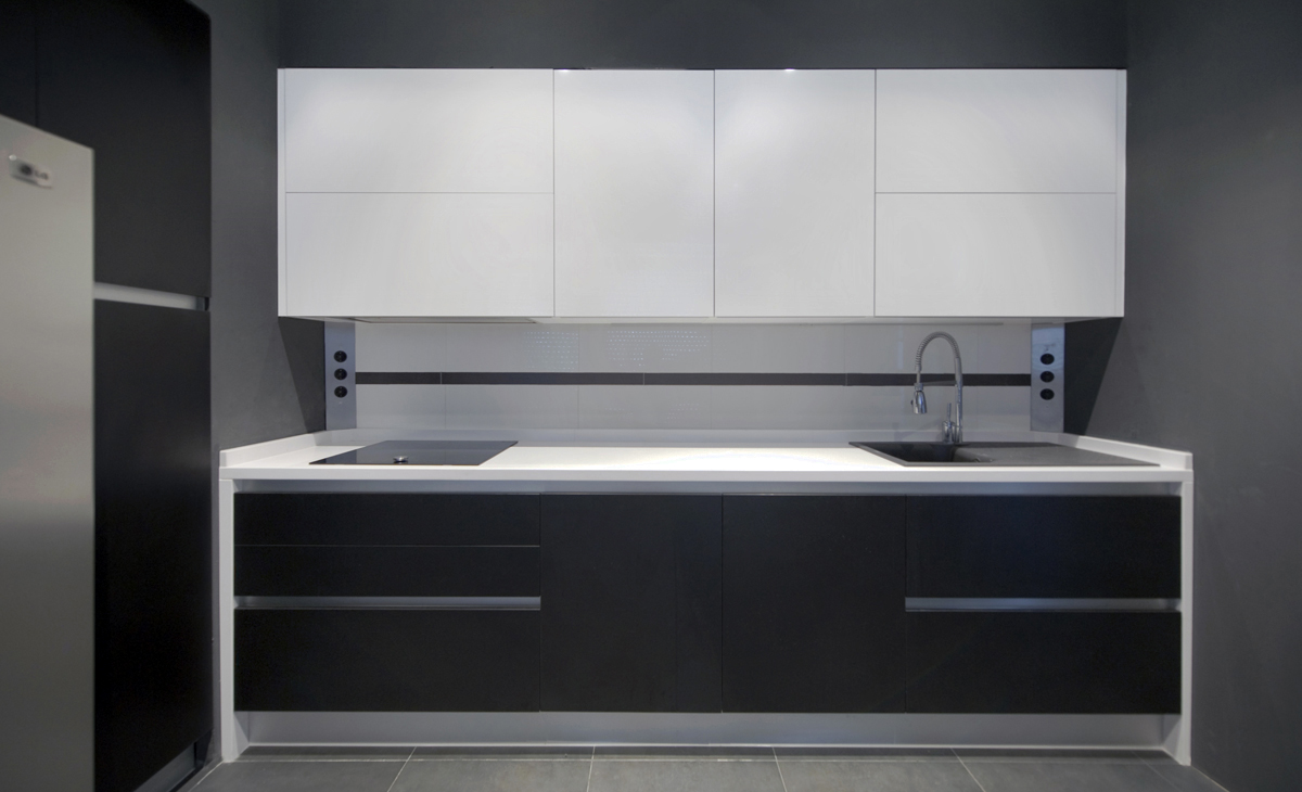 aqso, residential, interior, kitchen, cabinets, modular, black and white, minimal,