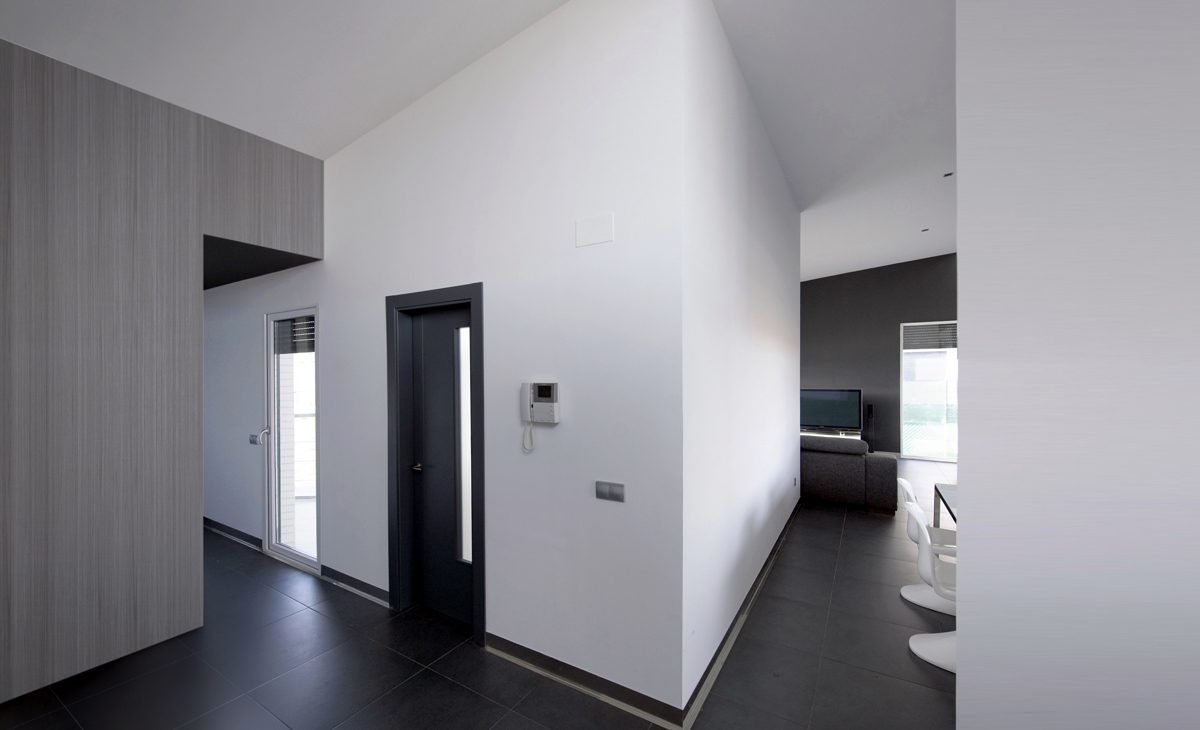 aqso, residential, interior, entrance, lobby, wooden wall, slate flooring