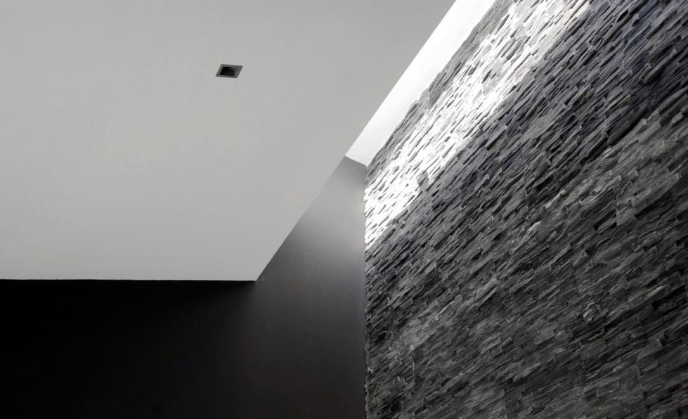 aqso, residential, interior, slate, stone, black, roof-light, detail, ceiling, black paint, contrast