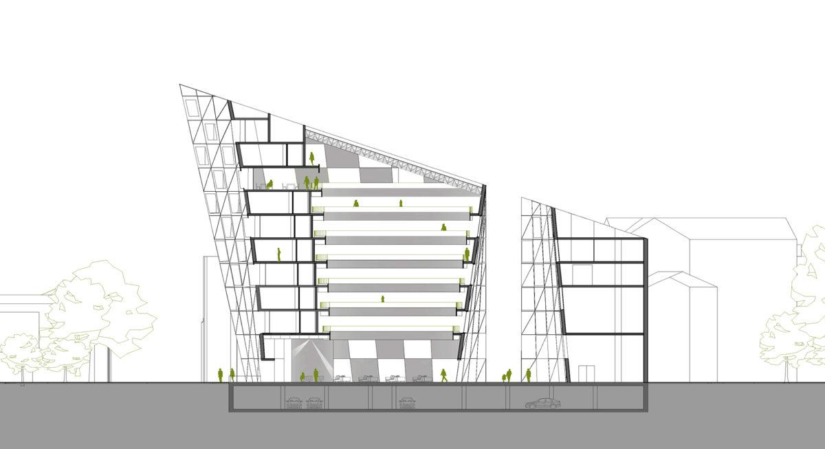 AQSO arquitectos office. La sección longitudinal del edificio muestra el patio central en torno al cual están las habitaciones de hotel y el patio que separa el edificio comercial.
