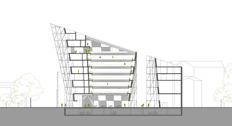 AQSO arquitectos office. The longitudinal section of the building shows the central courtyard around which the hotel rooms are located and the courtyard separating the commercial building.