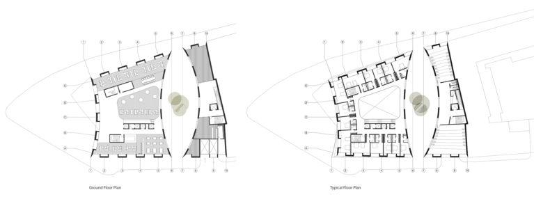 AQSO arquitectos office. Las plantas del edificio muestran las habitaciones del hotel en torno al atrio, así como la zona comercial y aparcamiento.
