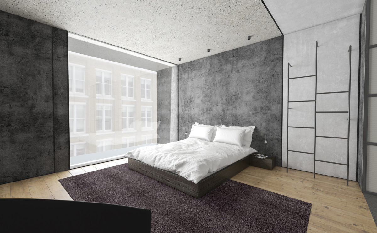 AQSO_arquitectos_office_Shoreditch-hotel-interior-bedroom-concrete-wall-full-height-window