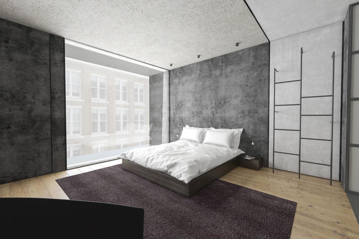 AQSO arquitectos office. La habitación de hotel está diseñada para un público millenial, es un diseño minimalista e informal con estilo industrial y funcional.
