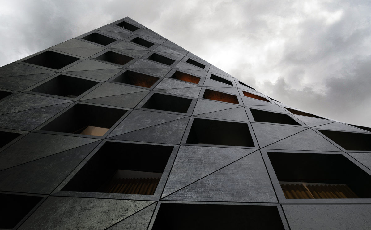 AQSO_arquitectos_office_Shoreditch-hotel-low-angle-detail-check-board-windows-bended-concrete