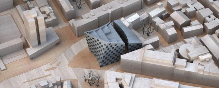 AQSO arquitectos office. Maqueta a escala construida en madera de balsa del tejido urbano que rodea el hotel de Shoreditch. Vista de pájaro de la intersección de Old Street.