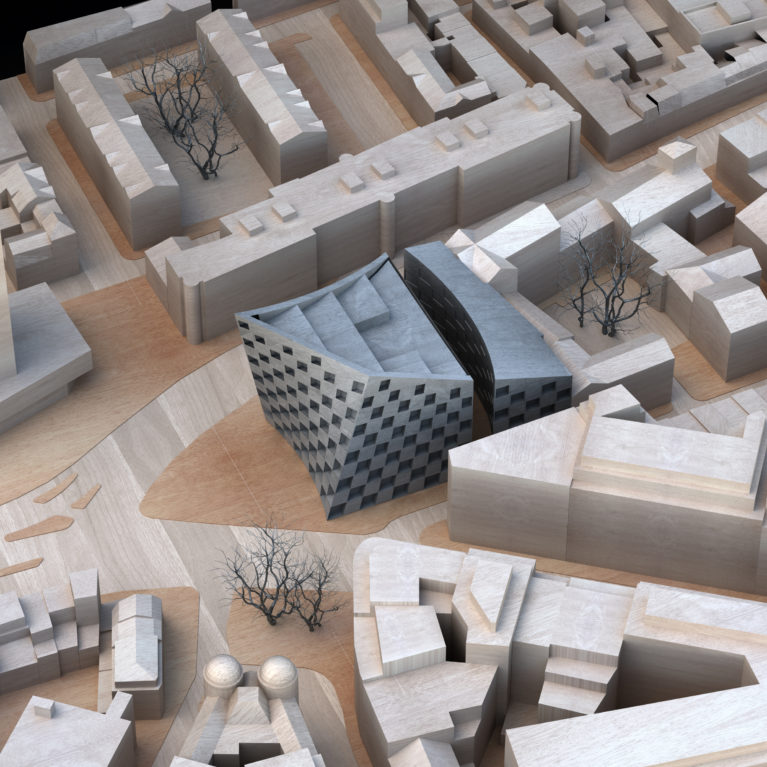 AQSO arquitectos office. Scale model built in balsa wood of the urban fabric surrounding the Shoreditch hotel. Bird's eye view of the Old Street intersection.