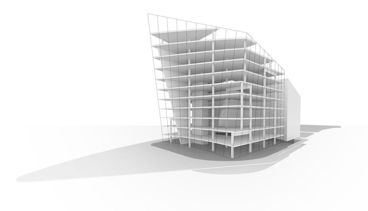 AQSO arquitectos office. El sistema estructural del edificio se basa en una espina de hormigón armado sobre la se sustenta un sistema de pórticos y pilares convencional.