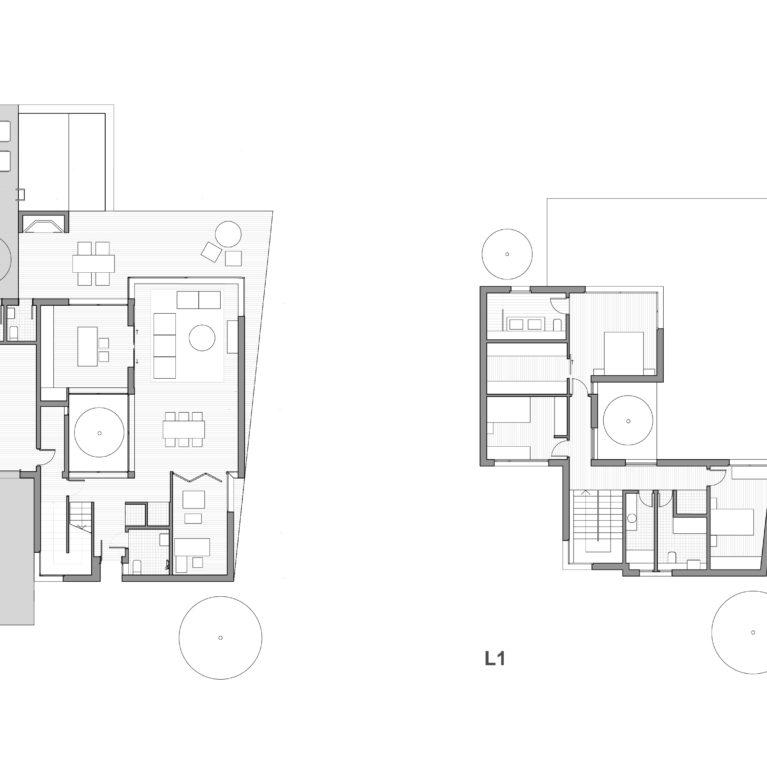aqso arquitectos office, planta tipo, vivienda unifamiliar, planos, distribución espacial, planeamiento del espacio, funciones de día y de noche, planta baja, planta primera, muros grosor
