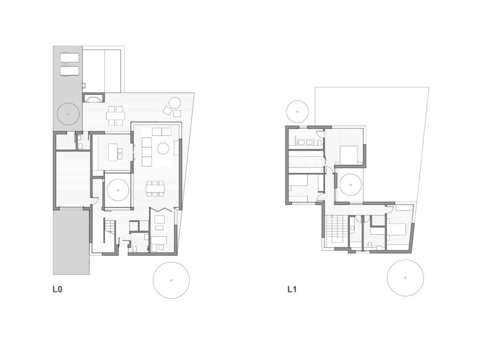 aqso arquitectos office, typical floor plan, single family house, blue print, spatial distribution, space planning, day and night functions, ground floor, first floor, layotus