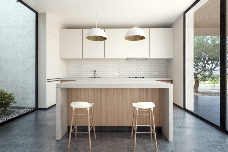 aqso arquitectos office, open kitchen, concrete countertop, kitchen island, timber stools, brass pendants, concrete floor, full-height glazing, metro tiles, white cabinets